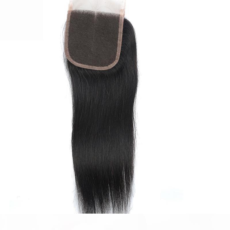 4 veya 5 ADET Düz Saç Kapatma Işlenmemiş Brezilyalı Bakire Saç Düz İnsan Saç 4x4 Dantel Kapatma
