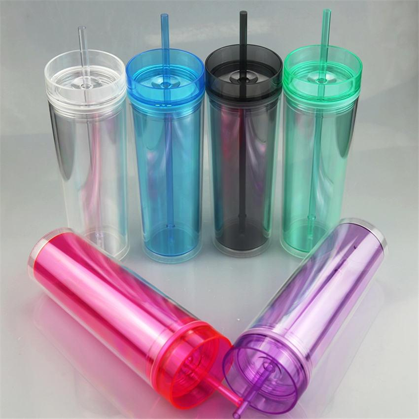 22 Unzen Acryl Tumbler Doppelwand dünne Tumbler Kunststoff Klarer Wasserflasche Kaffeetasse mit Stroh Freies Verschiffen A02