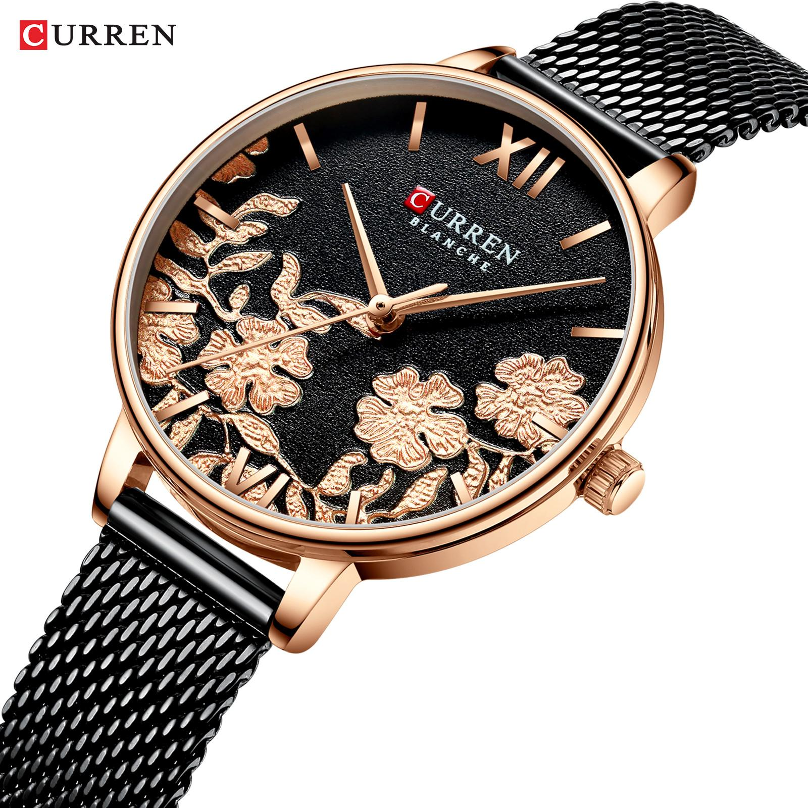 Relogio Feminino Curren Mulheres Assista Top Marca Luxo 2019 Rose Gold Mulheres Pulseira relógio para senhoras relógio de pulso Montre Femme J1205