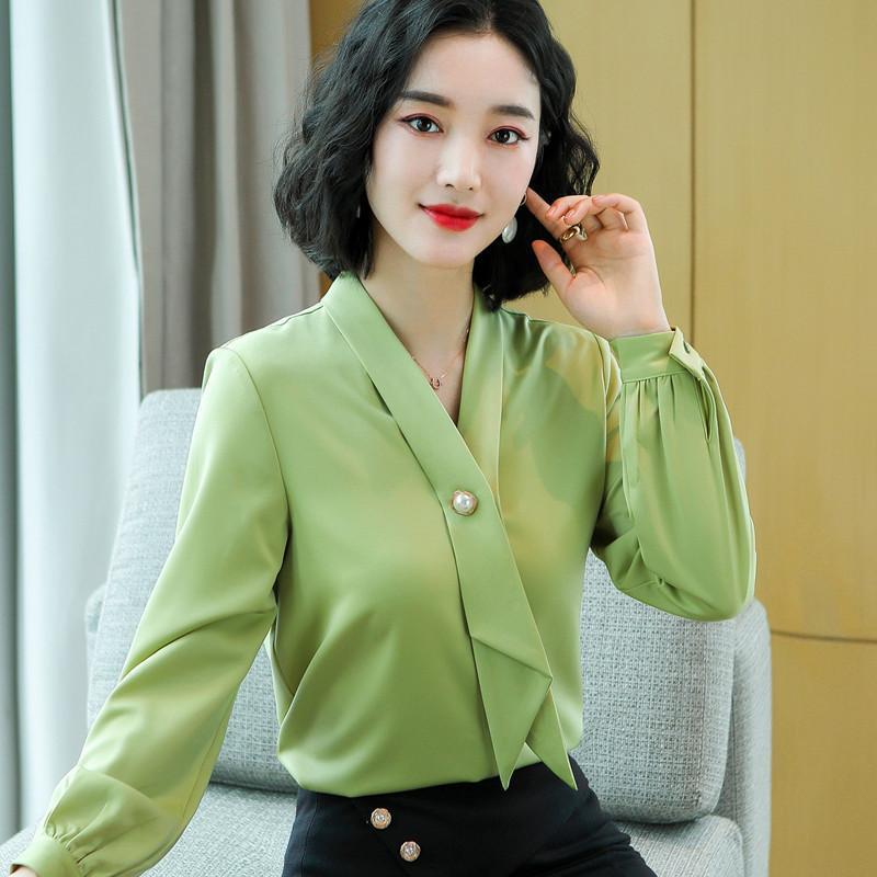 Camisetas de las blusas de las mujeres Otoño 2021 Camisa de manga larga Mujeres Desige Ribbon V Cuello Oficina Oficina Damas de la Moda Temperamento Gasiffon Formal Tops