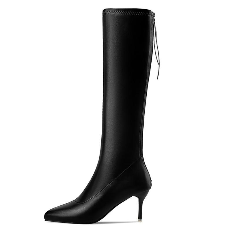 Winter für Frau Neue Mode Sexy Spitz Zurück Reißverschluss Reine Farbe Klarer Fersen Stiefel Knie Hohe Stiefel Stilettos Fersen 35-40