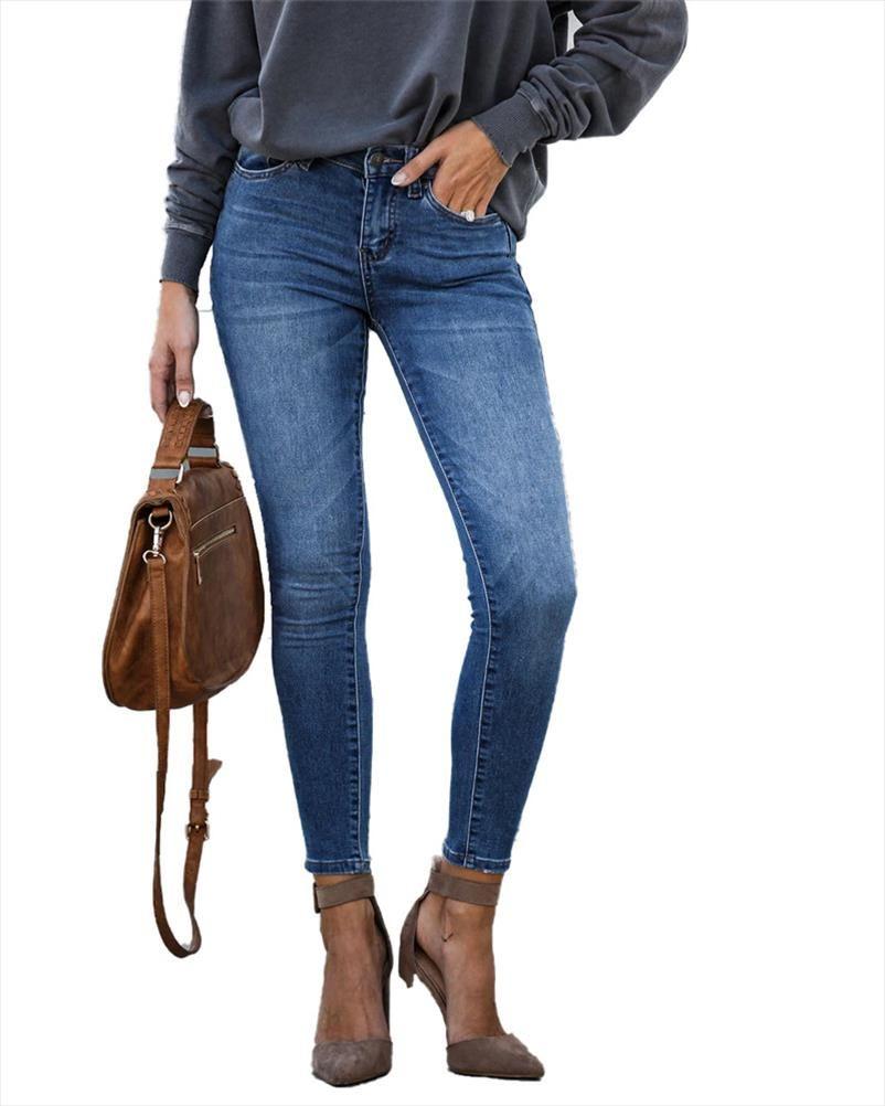 Jeans para mujer Mamá Jeans Mediados de cintura Mujer Alto Elástico Plus Tamaño Estiramiento Femenino Lavado Denim Pantalón Papel