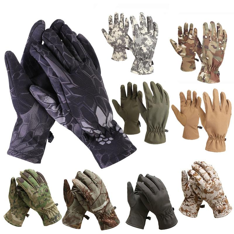 Outdoor Sport Motociclista Guanti da ciclismo Paintball Airsoft Shooting Caccia Tactical Full Finger Dinger Camouflage Softshell Camo Gloves P08-001
