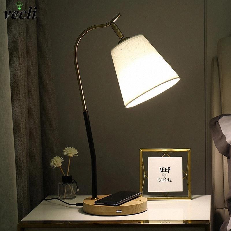 Современный светодиодный стойковый фонарь с телефоном Беспроводное зарядное устройство, USB-порт, северная спальня кровати, чтение для защиты от глаз настольная лампа ночной свет # VN0X