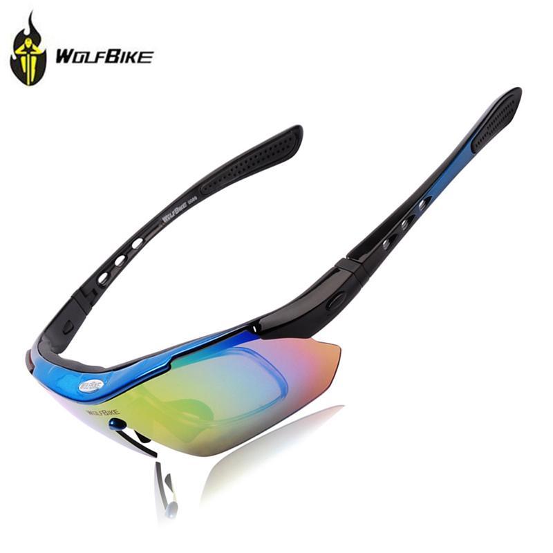 Wolfbike polarizado ciclismo sol al aire libre deportes bicicletas gafas bicicletas de sol gafas de sol conduciendo racing gafas gafas 5 lentes azul