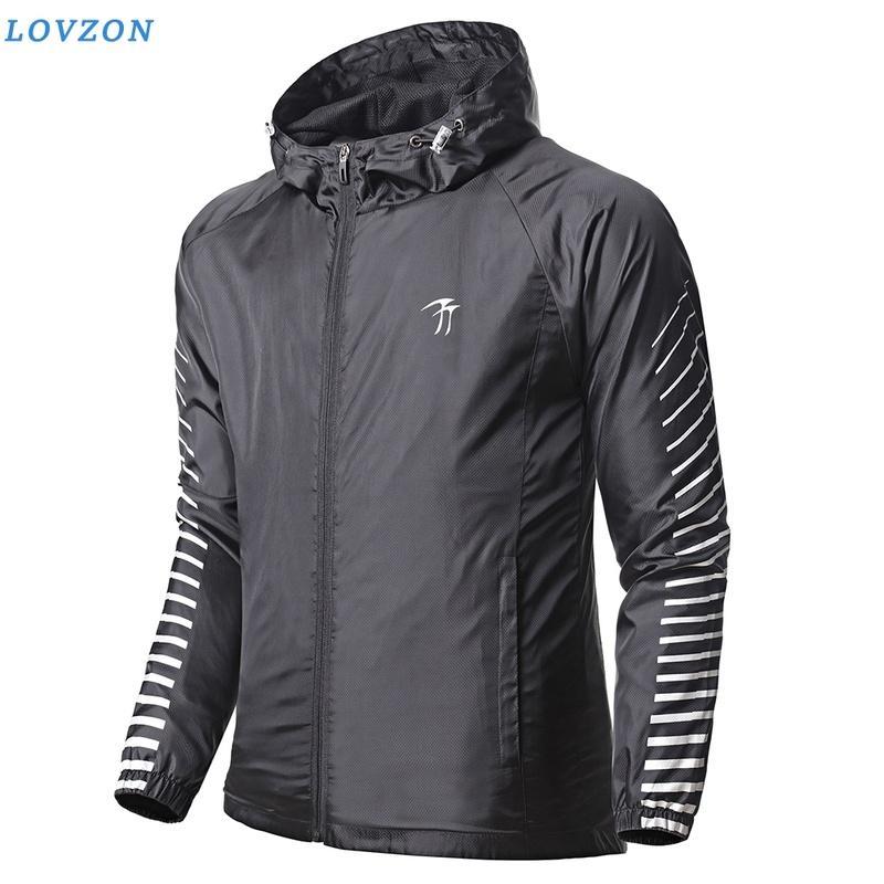 Uomini Maniche lunghe banda Trench zip uomo con cappuccio Windbreaker Coat tasche Solid Top Mens Outwear