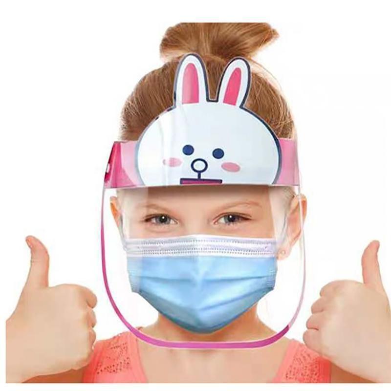 2020hours Hızlı Kargo Çocuk Karikatür Yüz Kalkanı Pet Anti-Sis İzolasyon Maskesi Tam Koruyucu Maske Şeffaf Kafa Kapak Stok Satılık