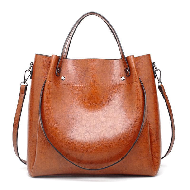 American Messenger couro saco fêmea do ombro de couro europeu balde senhoras óleo de óleo bolsa na moda e grande cera wbqxm