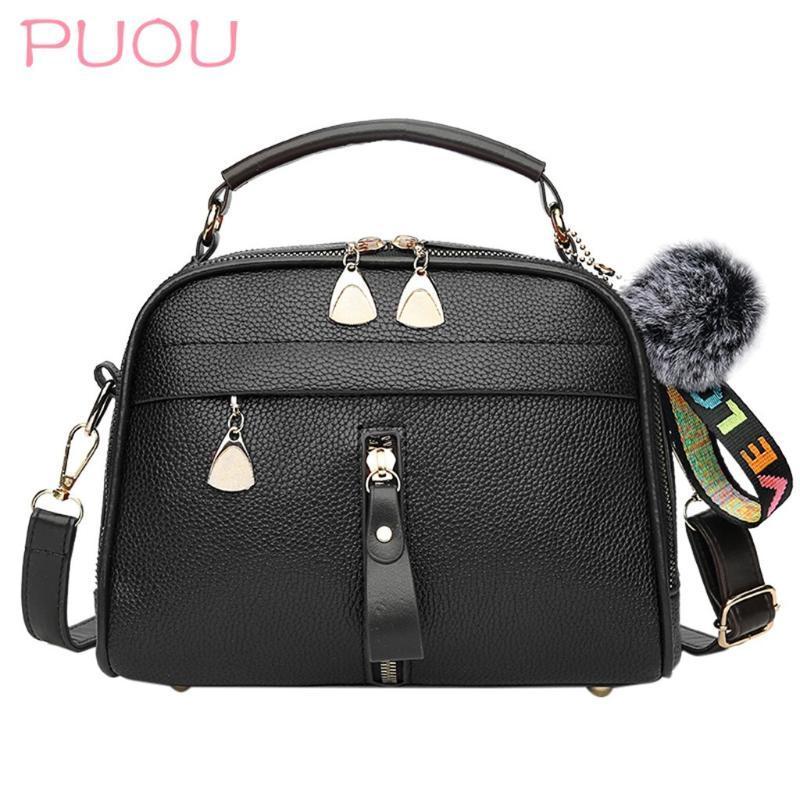 PU кожаные главные сумки лоскутный шар на плечо для мешка меховой мешок Crossbody женщин женские сумки сумка сплошной цвет мессенджера сумки женские mmoau