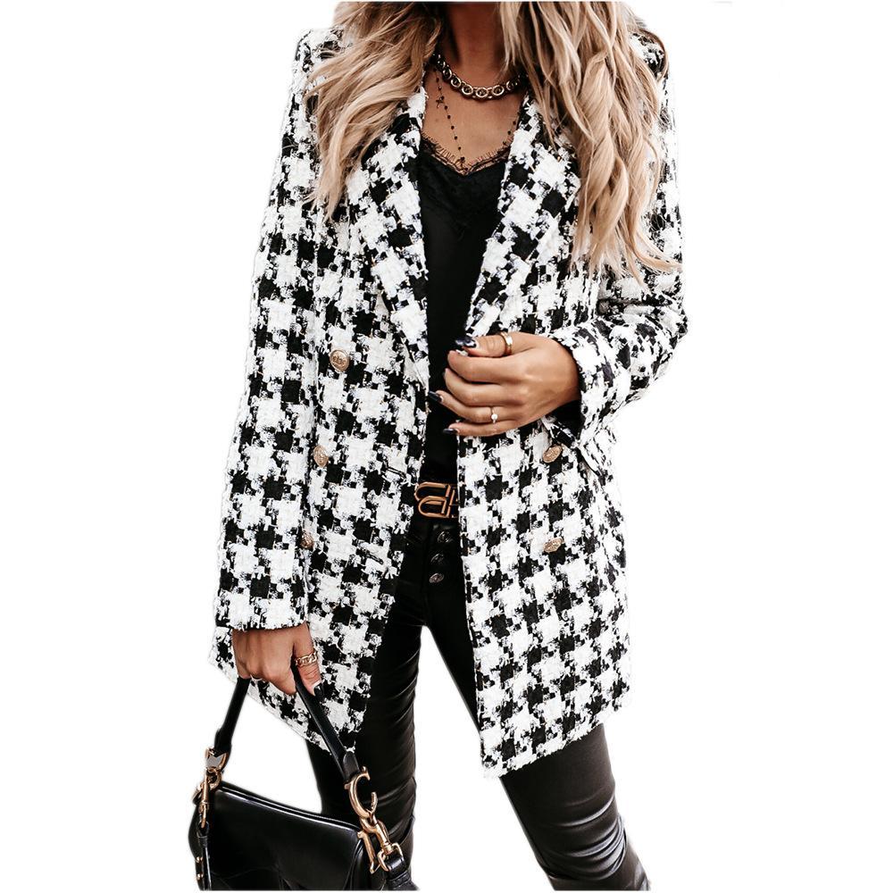 여성 자켓 가을과 겨울 패션 새로운 옷깃 목 슬림 긴 재킷 유럽과 미국 스타일 여성 트렌치 사이즈 S-2XL