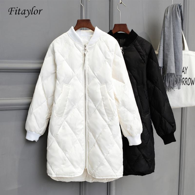 Fitaylor New Winter Long Womens Down Jackets Ultra Light White Duck Down Coat Oversize White Puffer Jacket Slim Autumn Parkas 201211