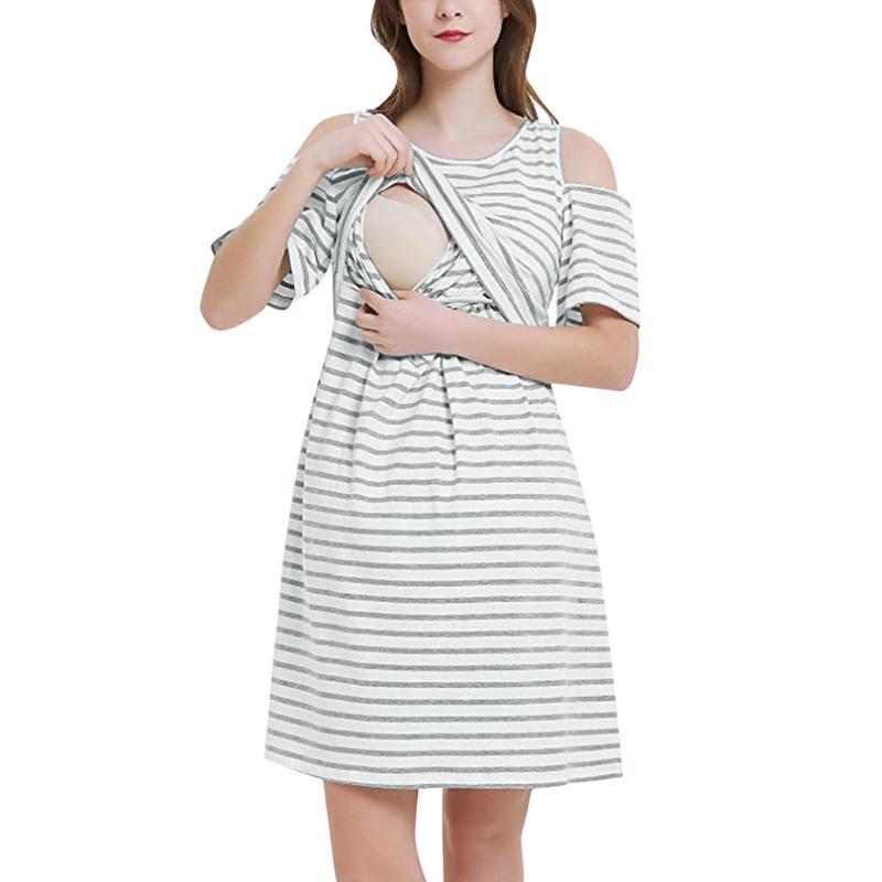 Платья для беременных Мода вскользь грудное вскармливание одежды платье женщины лето с коротким рукавом полоса кормят ропа де материнин