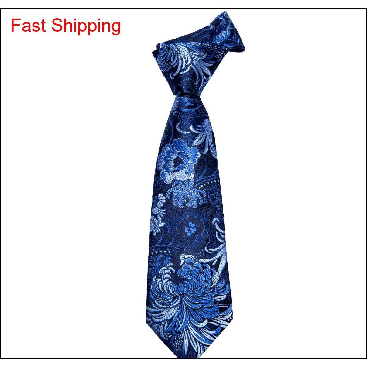 Hi-kravat 100% Ipek Mavi Kravat Seti Iş Erkekler Çiçek Desen Kravat Mendil Kol Düğmeleri Erkekler Için Set Bağları Düğün PA Qylcut HOMES2007