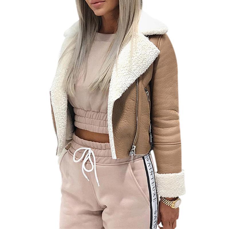 2020 الخريف المرأة معطف جاكيتات أزياء التلبيب من جلد الغزال مشبك بارد الطيار سترة فو الضأن الصوف دراجة نارية جاكيتات أبلى