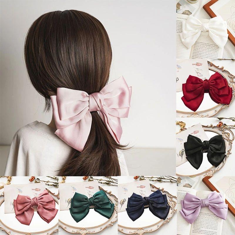 Doce cor sólida cor de cabelo grande para meninas moda clipes de cabelo mulheres três camadas cetim cabeleireiro acessórios de cabelo headwear