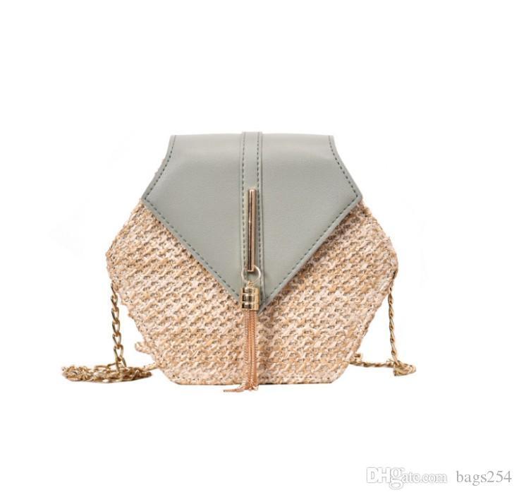 Bolso de paja para mujeres Playa tejida de verano Bolsas Crossbody Bolsas Damas Pequeñas monederas y bolsos Mensajero de viaje femenino