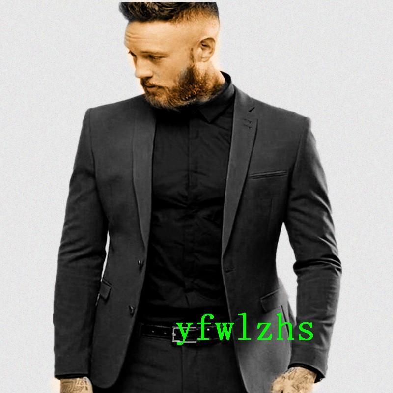 Bonitos dois botões Groomsmen Notch Lapel Noivo TuxeDos Homens Suits Casamento / Prom Best Blazer (Casaco + Calças + Tie) B515