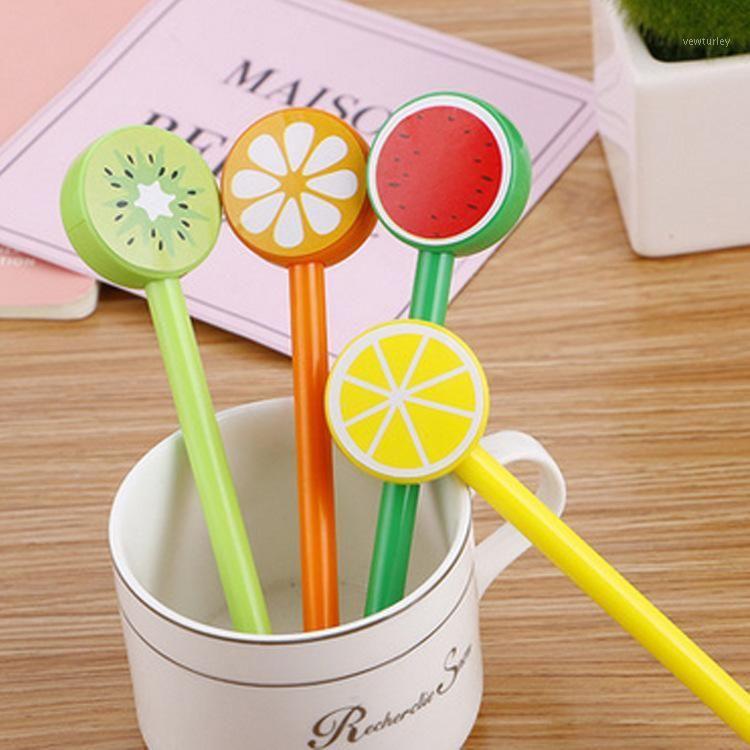 هلام الأقلام الفاكهة البلاستيك مجموعة 0.5 ملليمتر الحبر الأسود الملء الكورية kawaii اللوازم المدرسية لطيف بارد القلم الهدية الترويجية custom1