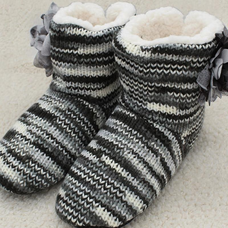 Winter Warm sock shoes woman Flower Mix colors Fur slippers women House Antiskid Soft Light weight Bedroom women slippers 201130
