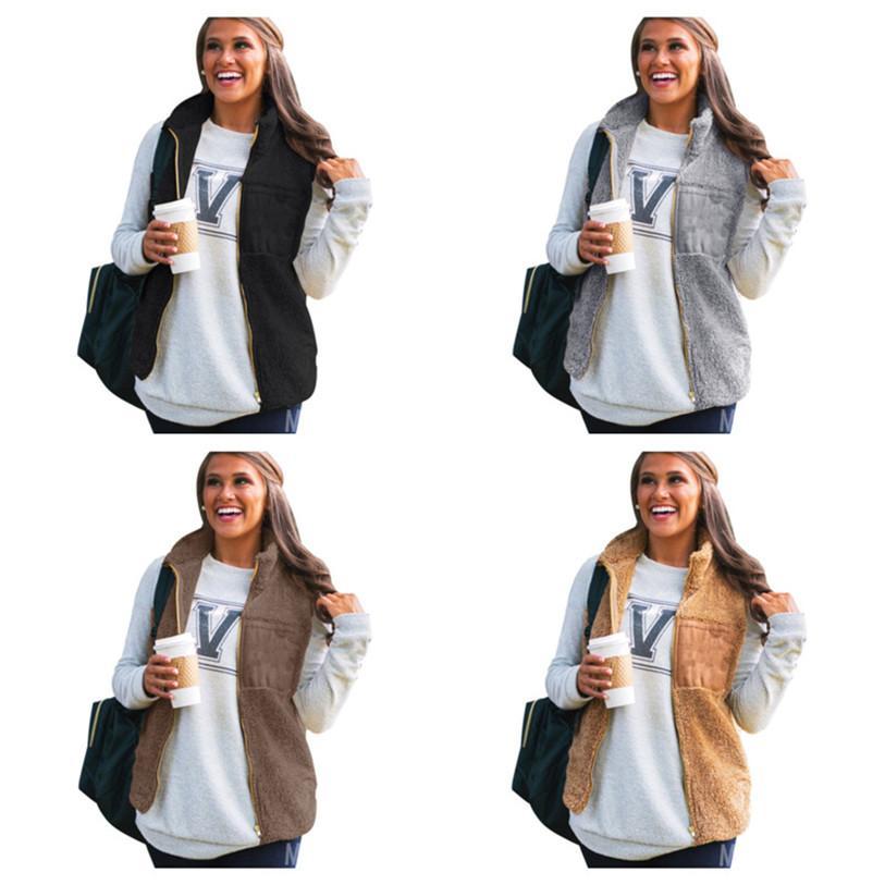 Winter warm Plüsch Weste Mantel Top Damen Gilet Plüsch Reißverschluss Mäntel Mode Weste Frauen Sleeveless Fleece Flauschige Outwear Auf Lager E123102