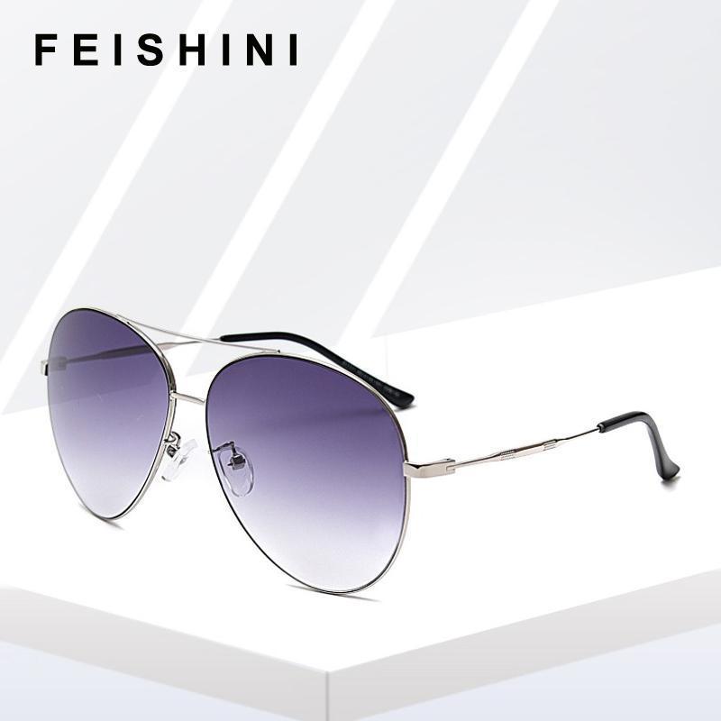 Feitehini Metallrahmen Große Pilot Sonnenbrille Für Frauen Marke Designer Mode Gradient Objektiv Unisex Sonnenbrille Mann Stilvolle Farbtöne