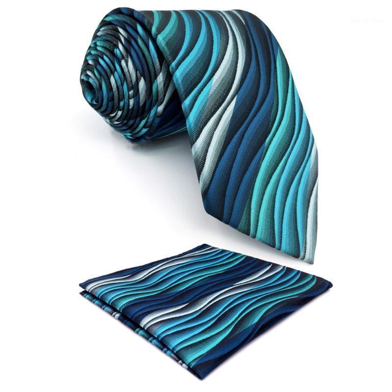 """Y23 turchese multicolor increspatura astratto classico seta extra lunga taglia cravatta da uomo set hanky legami per uomo 63 """"1"""