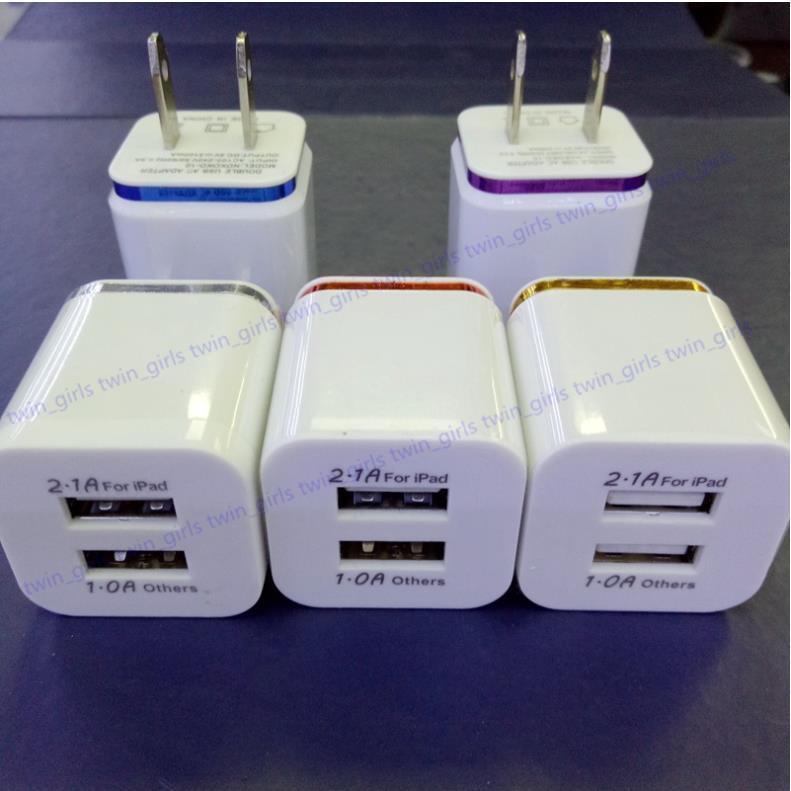 شواحن الهاتف الخليوي - الولايات المتحدة التوصيل 2A المزدوج USB الجدار شاحن محول 2 ميناء شاحن محول ل i phone i7 i8 htc samsung