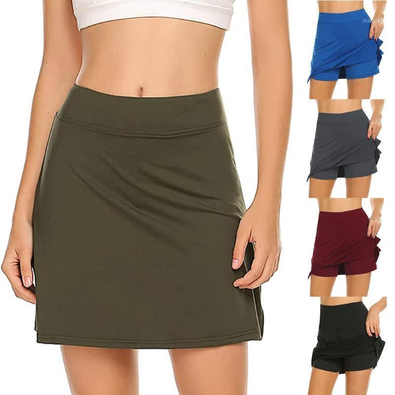 اليوغا تتسابق أزياء تنورة إمرأة نشط الأداء skort خفيفة الوزن تنورة لتشغيل التنس الغولف الرياضة مصغرة faldas موهير moda1