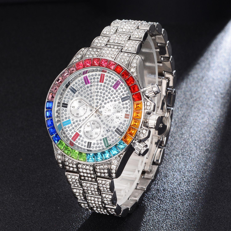 Cross-borders Europa e América Personalidade Diamantes Diamante Diamante Hip Alta Qualidade Relógio Moda Big Downboard Temperator Relógio