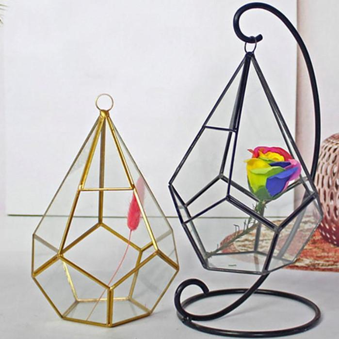 مصغرة زجاج تررم المزهريات الهندسية الماس سطح حديقة الغراس داخلي الدفيئة النضارة النباتات ديكور المنزل YHM199-1