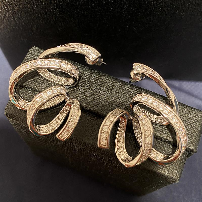 moda prata cor cz primavera brinco espiral para as mulheres