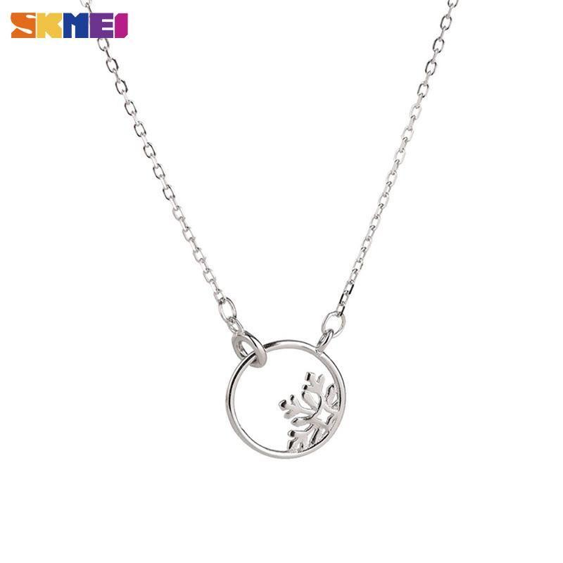 Skmei círculo hueco mujeres collares copo de nieve cadena clavícula collar japonés estilo coreano s925 joyería de plata esterlina