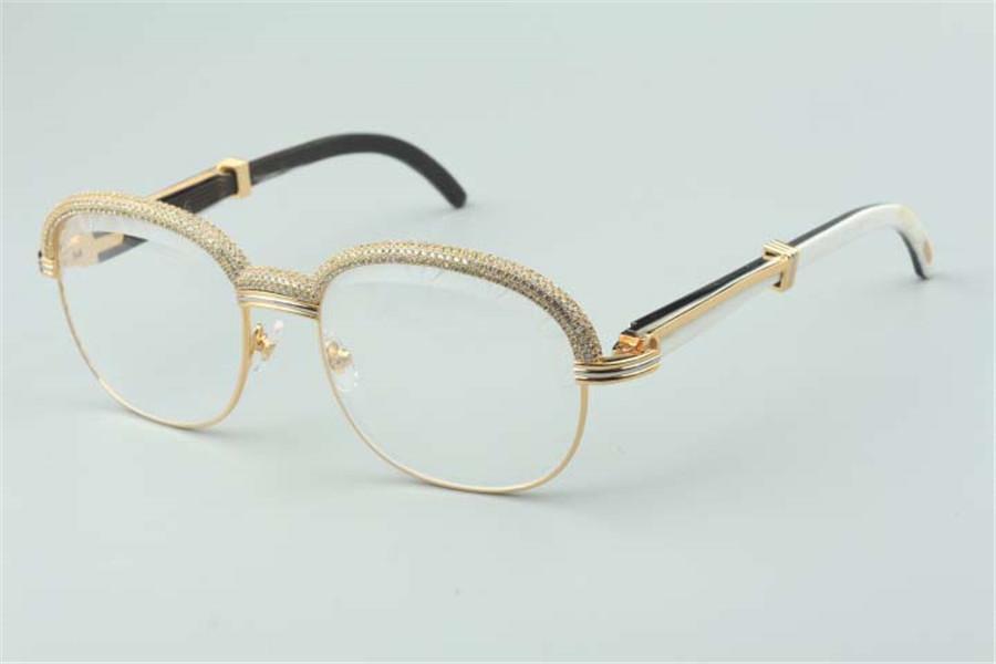 Best-seller Top-Quality Novo Estilo Natural Buffalo Buffalo Óculos, Diamantes High-End Frame 1116728-A Tamanho: 60-18-140mm