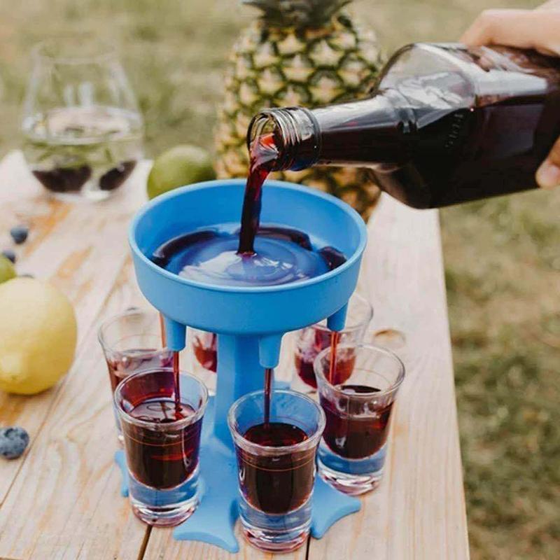 dropship 도구 6 장 샷 유리 디스펜서 홀더 와인 디스펜서 캐리어 캐디 주류 파티 음료 마시는 게임 바 칵테일 팝업