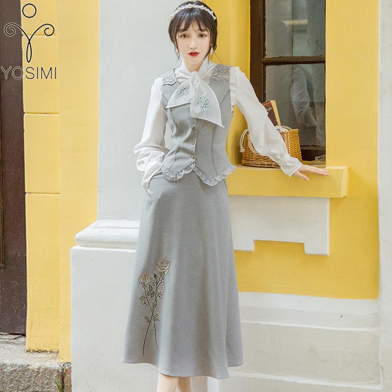 Yosimi 2020 Primavera Embroidery floreale 3 pezzi Abiti da donna a manica piena Camicetta bianca Gonna di lana e gilet Set femminile 3 pezzi