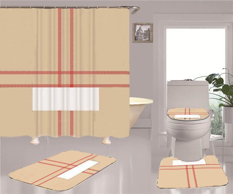 Legal Imprimir cortinas de chuveiro conjuntos de alta qualidade Quatro peça deve definir banheiro anti-espigador antiderrapante desodorante esteiras de banheiro