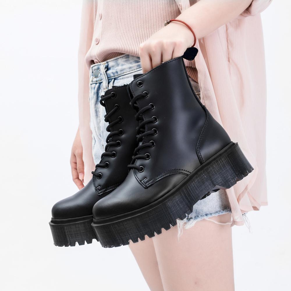 Jadon 8-oeil bottes femmes haute plate-forme chaussures de cheville chunky femme en cuir moto femme mode femme bottes martins 201127