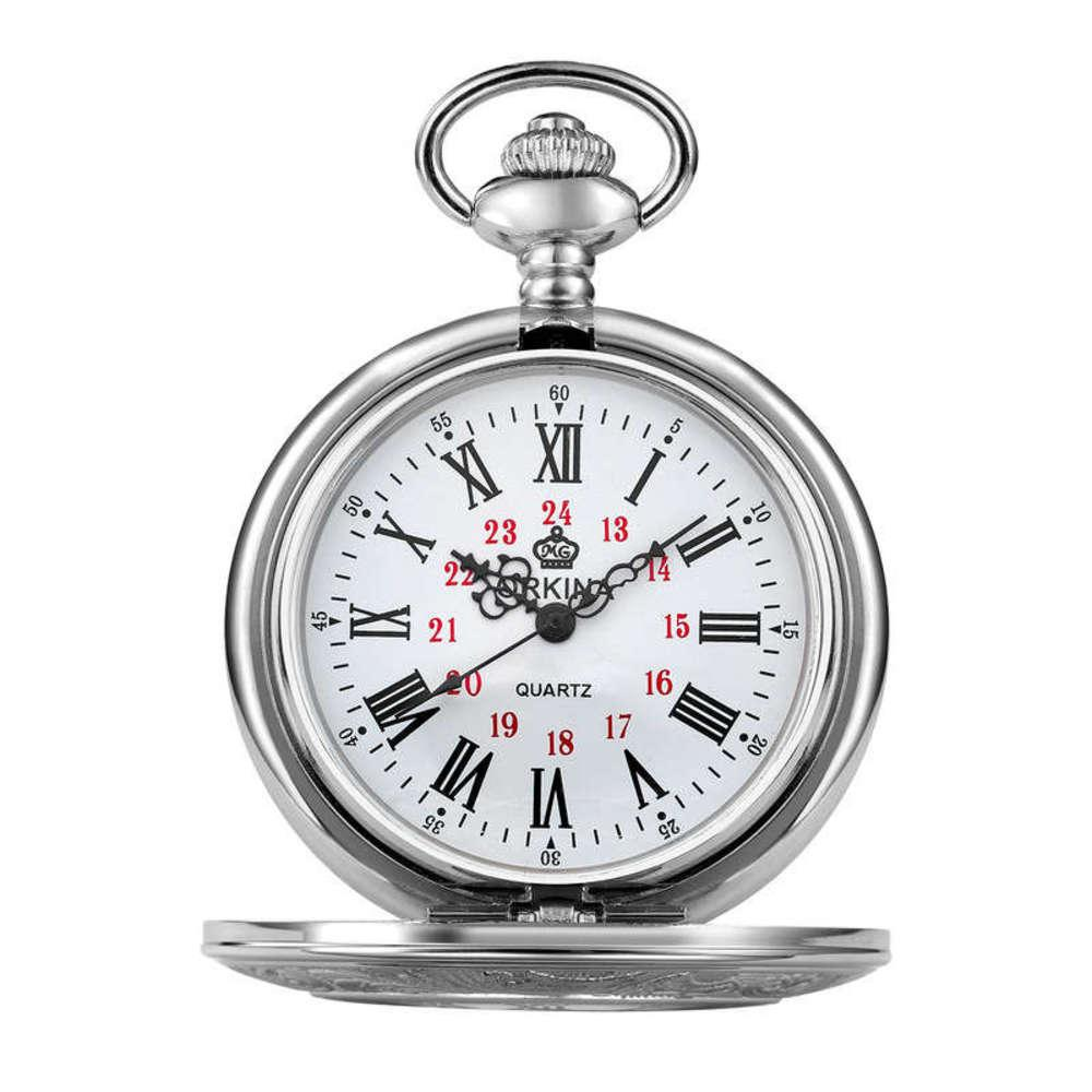 Reloj de bolsillo mecánico de plateado de plateado grande Ouina