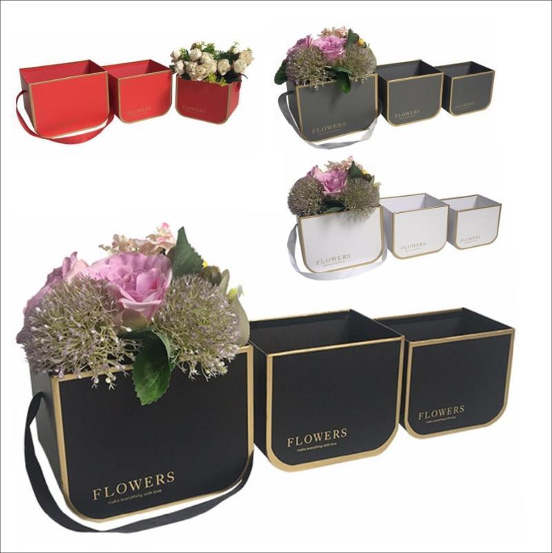 3 teile / satz 2020 Neue Kleine Größe Florist Verpackung Blume Eimer Box, tragbare Blume Geschenkbox, Muttertag Weihnachten Geschenkkästen