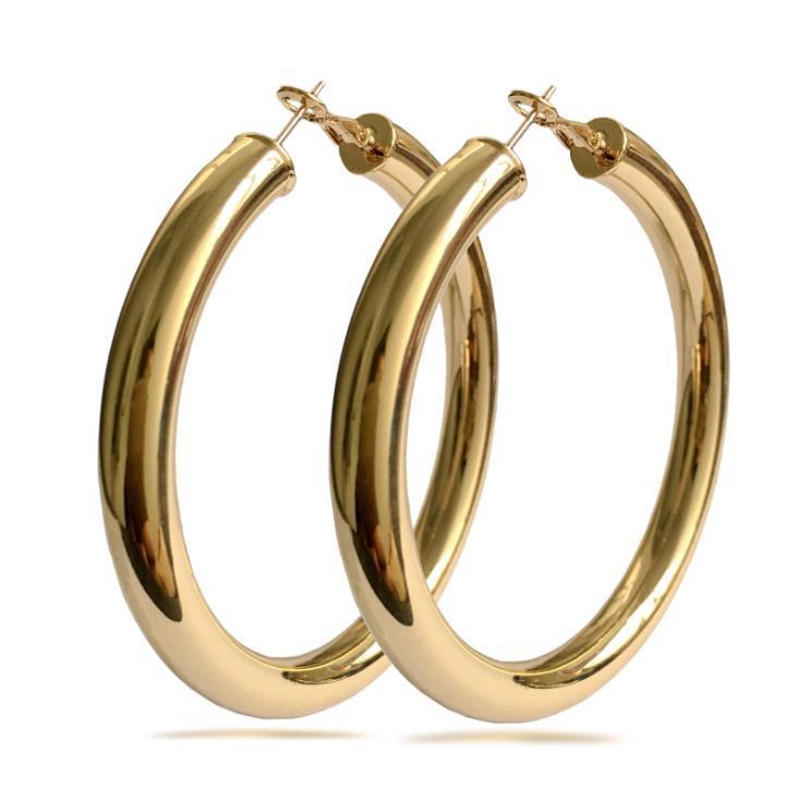 النساء هوب أقراط 18 كيلو الذهب الحقيقي مطلي أنيقة حجم أكبر 4 سنتيمتر / 5 سنتيمتر / 7 سنتيمتر الأزياء حلي المجوهرات العصرية الكبيرة