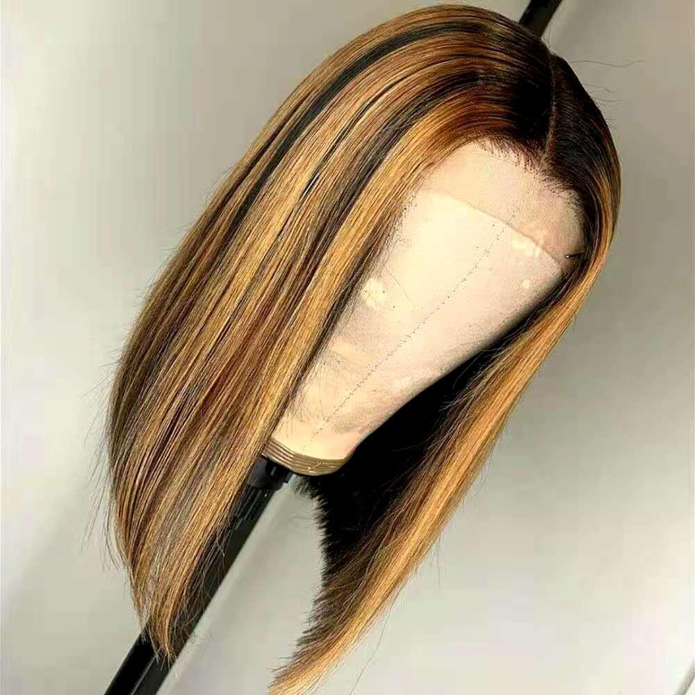13x4 resaltado recto peluca delantera peluca delantera peluca humana, 150% de densidad Brasileño Ombre Color pre arrollado con pelucas frontales de encaje de pelo de bebé