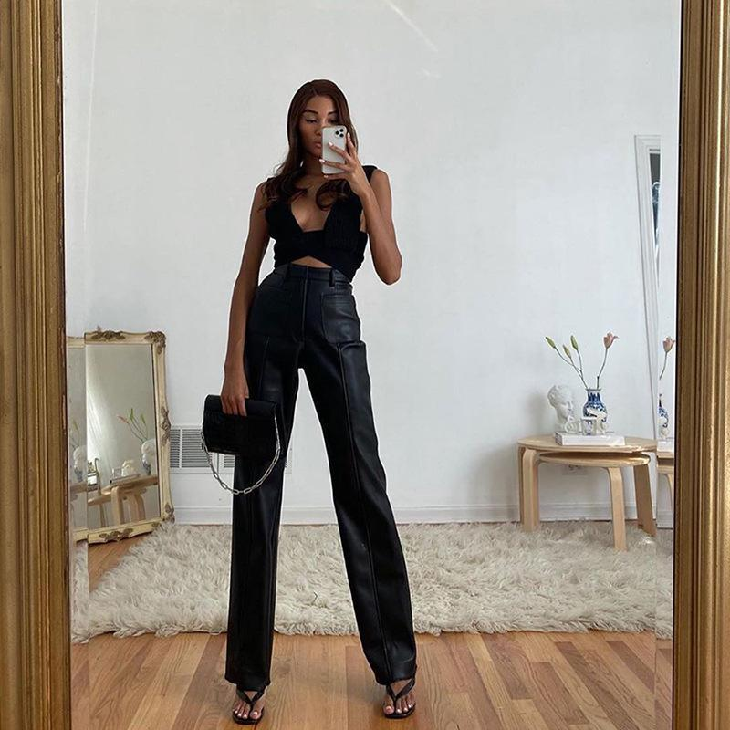 2020 High Street estilo pu couro calças retas para Black Moda alta cintura solta Hip motocicleta de mulheres perna larga fêmeas Pant