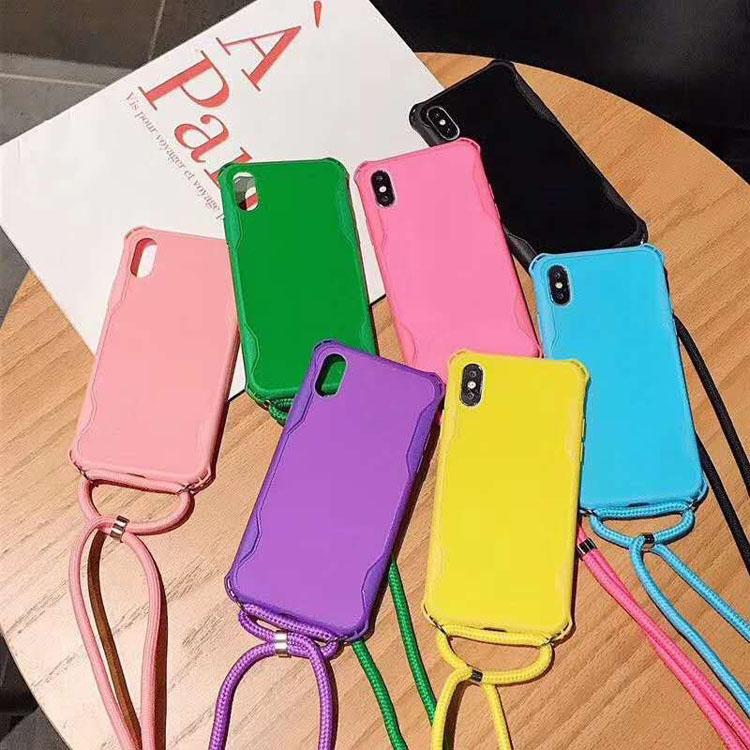Strap Cord Chain Hard PC Phone Case Necklace Lanyard Neck Rope Cover for Apple 7 8PLUS XR X MAX 11 12 PRO
