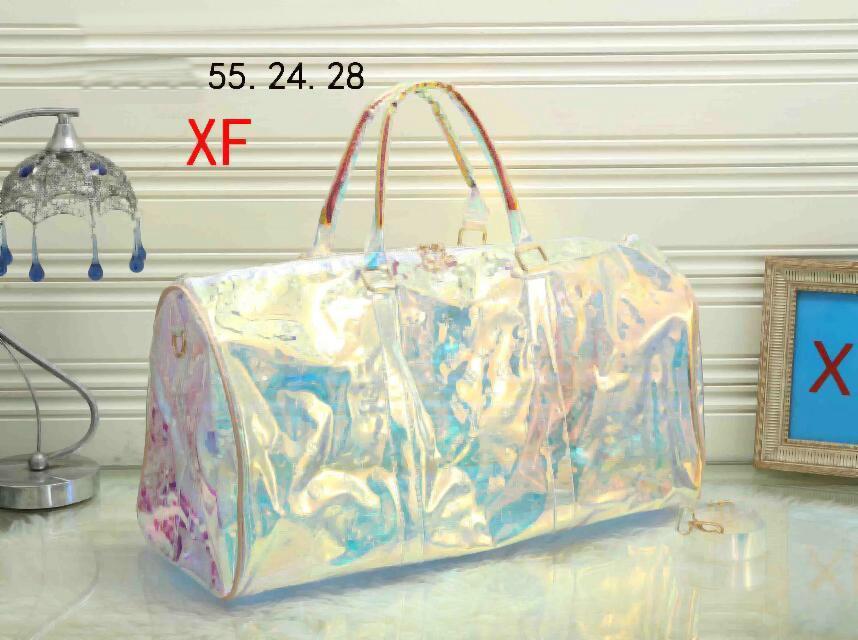 2021 Yeni Desen Klasik Lazer Flaş PVC Kadın Çanta 55 cm Şeffaf Duffle Çanta Parlak Renk Bagaj Seyahat Çantası Uy6-Qazx