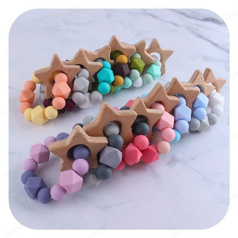 13 Colors Baby Teether Rings Food Grade Beech Wood Five-pointed star Teething Ring Teethers Toys Round Wooden silicone Beads