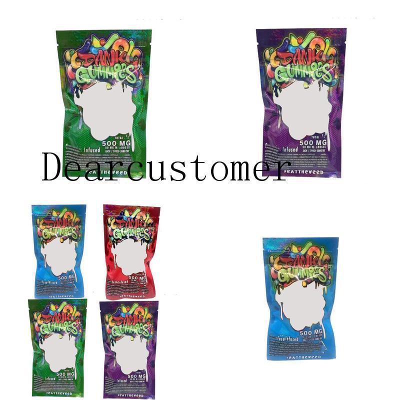 Bolsos de los osos EDIBLES Venta al por mayor Dank 500mg Bolsa gomosa Gusanos Cubos Bolsos Ecomidos Embalaje Gummies TrustBde Y2021FTD