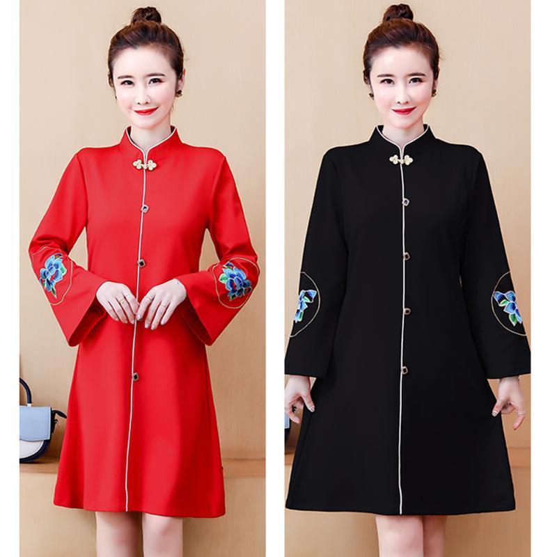 Elegante bordado mejorado diario cheongsam qipao corto vestido chino qipao fiesta moderno cheongsam mujeres retro vestido de año nuevo