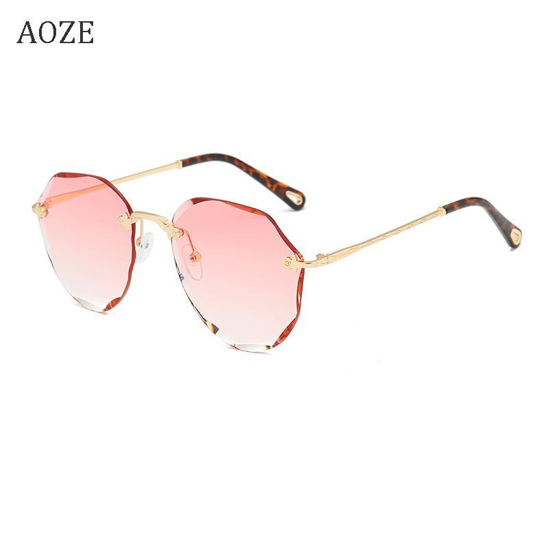 Güneş Gözlüğü 2021 Tasarım Marka Vintage Gözlük Çerçevesiz Lens Degrade Pilot kadın Retro Kesim Gafas de Sol Mujer UV