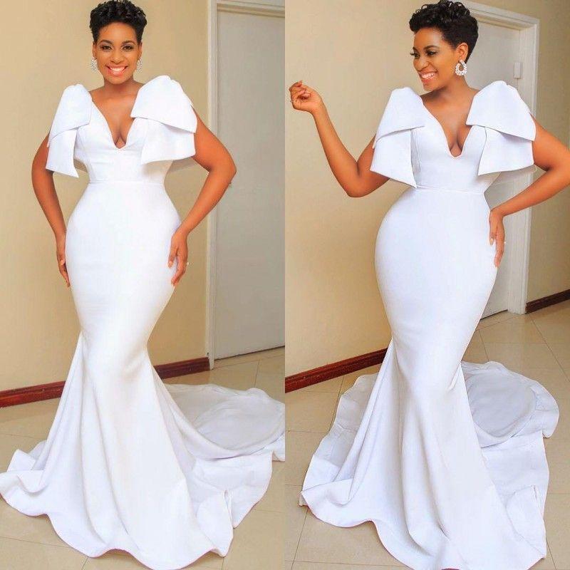 Il vestito da partito del V collo della sirena Abiti da sposa bianchi 2021 più il formato arabo Aso Ebi sera poco costoso abiti convenzionali