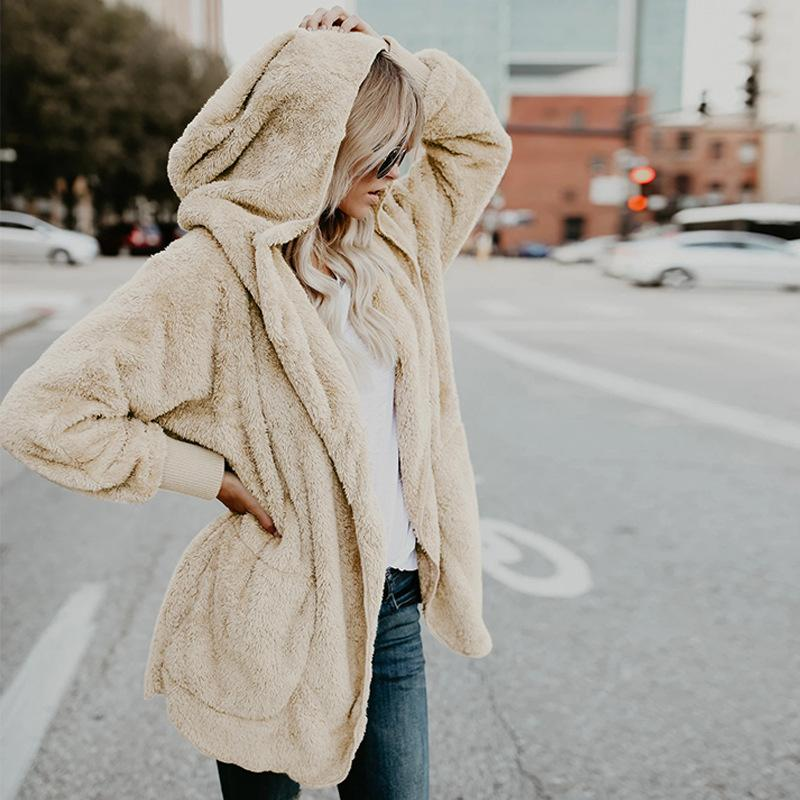 C5344 Herbst Winter Mode Damenmantel Mit Kapuze Langarm Cardigan Weiche Nap Outwear Mantel